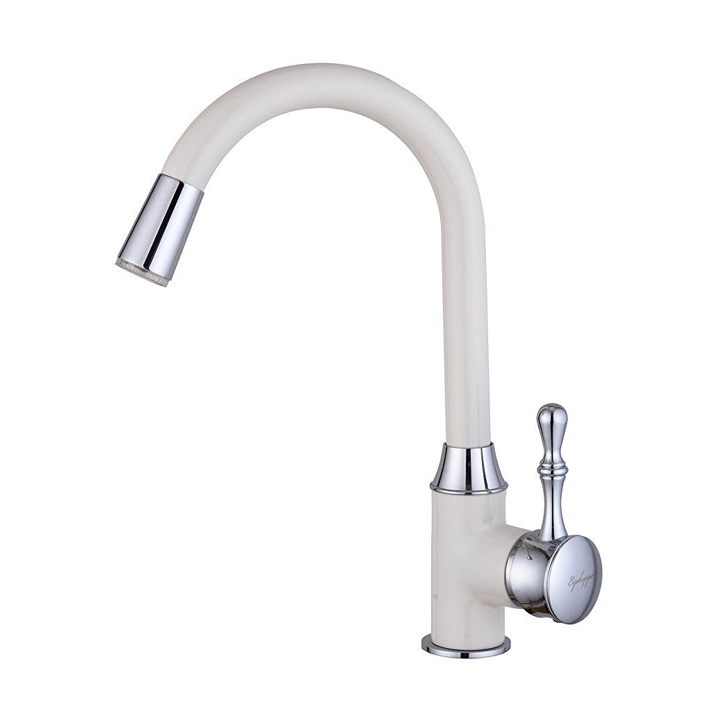 Deck Mounted Kitchen Sink Faucet with White & Chrome Finish