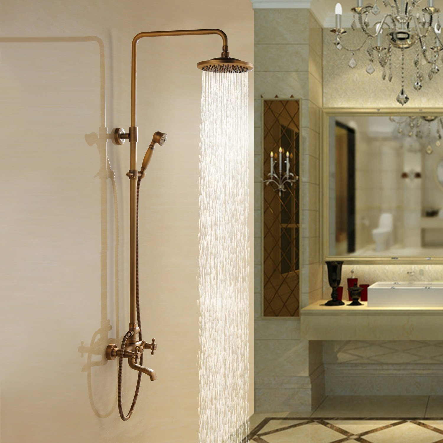 Aur 195 169 Lie Antique Brass Wall Mounted Shower Set