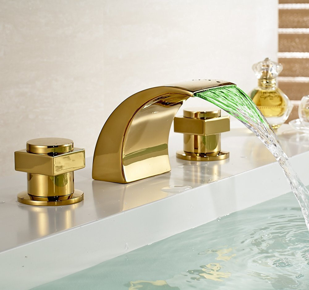 Campinas gold polished led waterfall bathroom sink faucet for Polished gold bathroom faucets