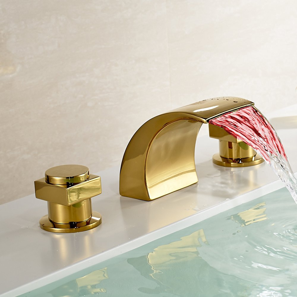 Bathroom Faucets Gold Finish gold polished led waterfall bathroom sink faucet