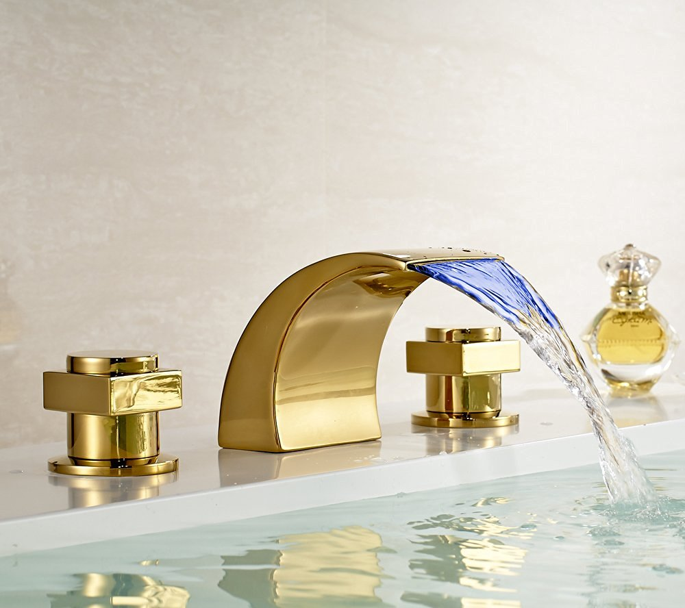 Contemporary Waterfall Bathroom Sink Faucet - Campinas gold polished led waterfall bathroom sink faucet