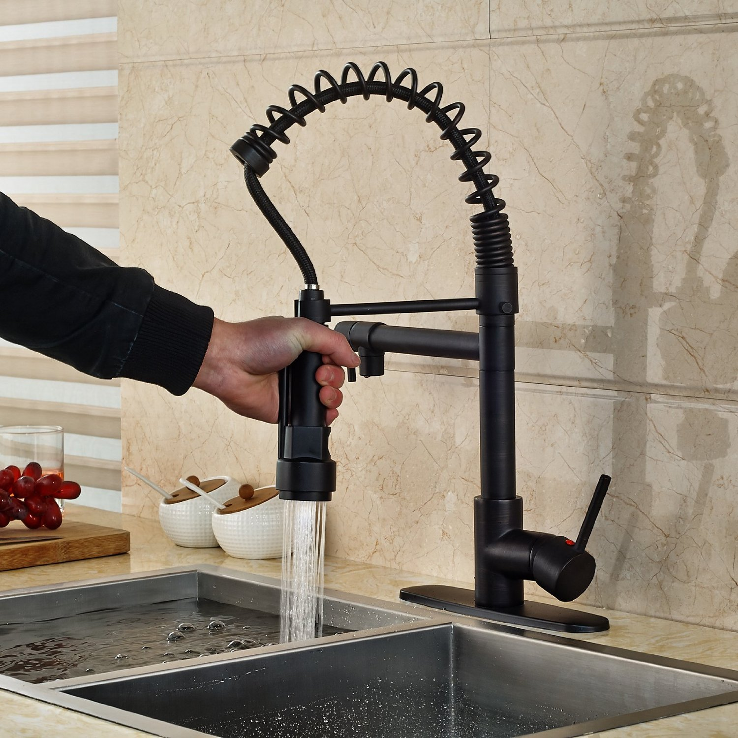 Deck Mounted Kitchen Sink Faucet with Pull Down Spray