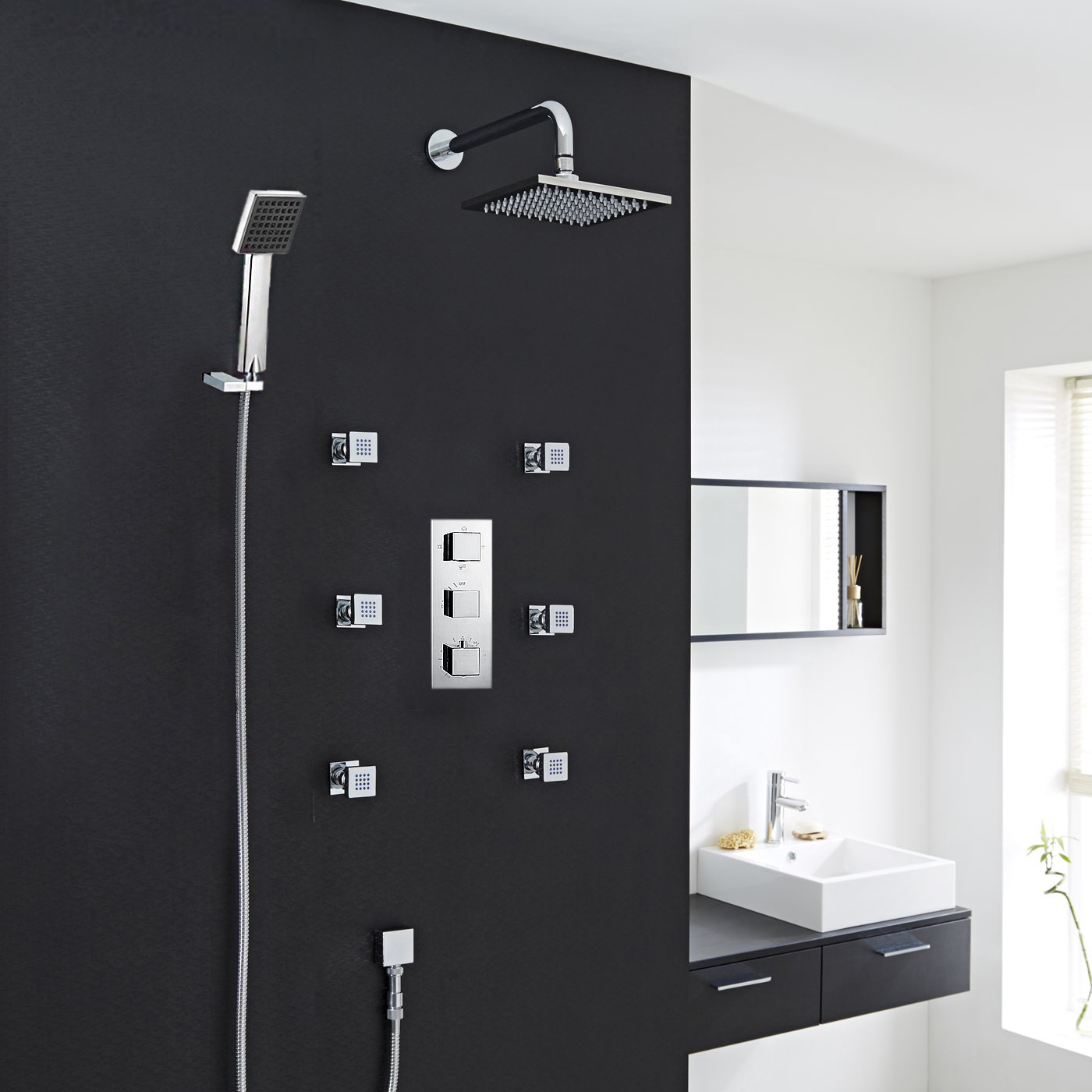 Fontana Wall ceiling shower head shower body jets hand shower with ...