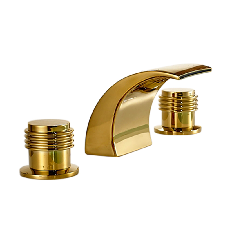 Bathroom Faucets Gold : Gold Finish Brass Body LED Bathroom Sink Faucet Mixer Tap