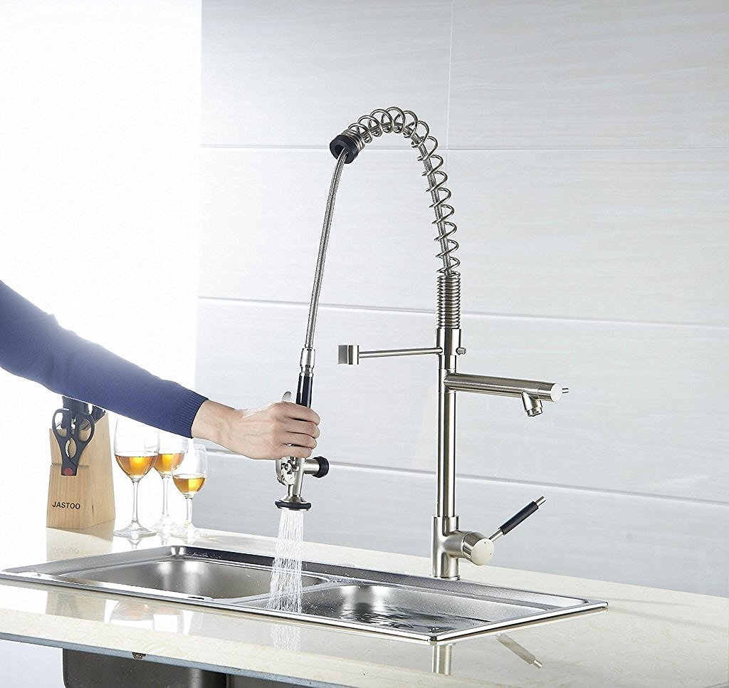 Deck Mounted Single Handle Kitchen Sink Faucet with Pull Down Sprayer