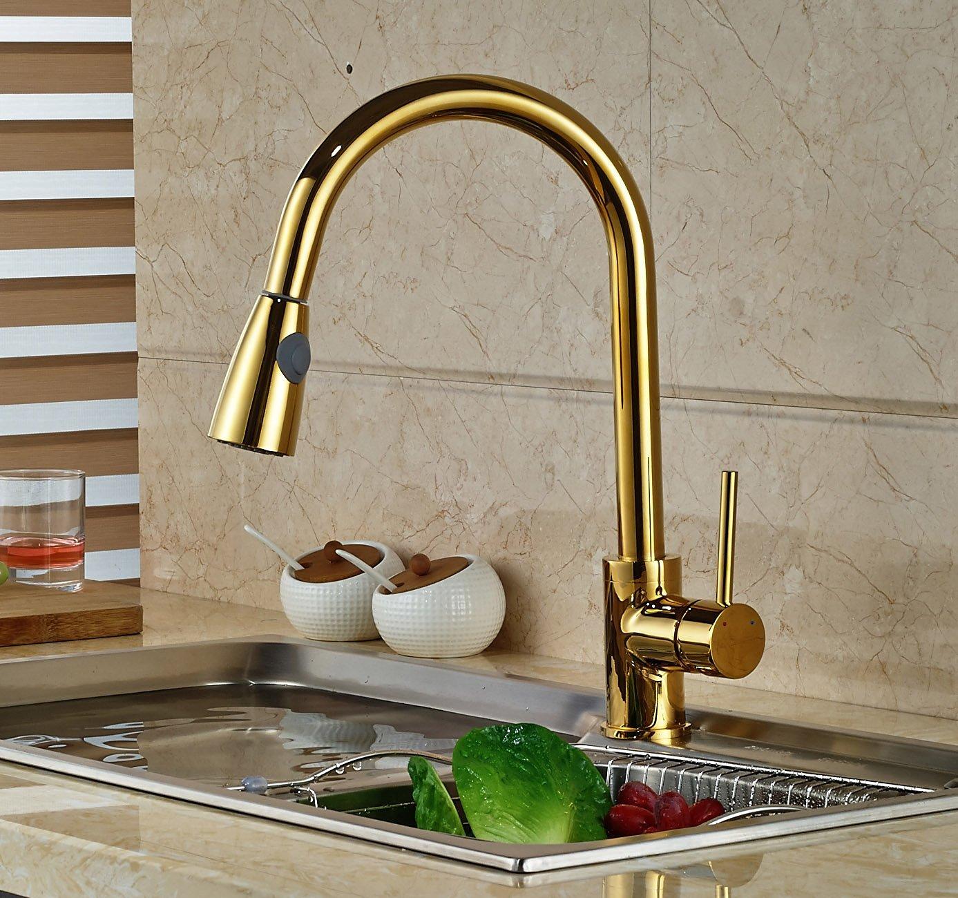 Manaus Deck Mounted Gold Finish Kitchen Sink Faucet