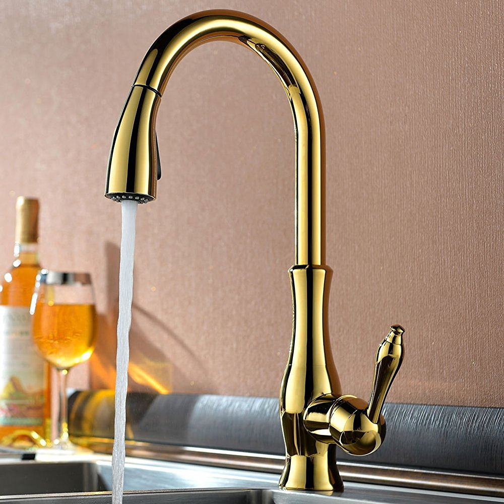 Deck Mounted Kitchen Sink Faucet With Pull Down Spray - Brass faucets kitchen