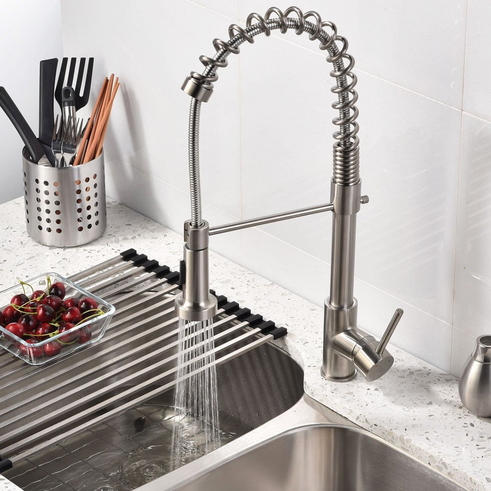 brushed nickel kitchen sink faucet with pull down sprayer quilmes brushed nickel kitchen sink faucet with pull down sprayer