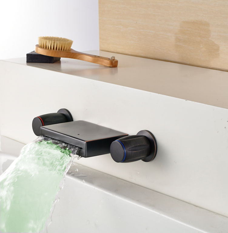 Bathroom Waterfall Faucet molina dual handle wall mount waterfall oil rubbed bronze led sink