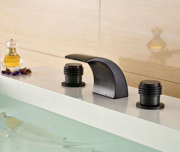 Reno Oil Rubbed Bronze Waterfall Deck Mount Sink Faucet