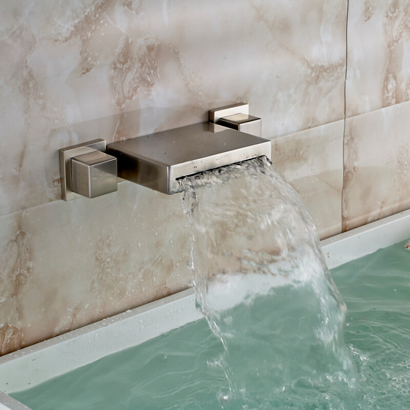 Brushed Nickel Wall Mounted Double Handled Bathtub Faucet