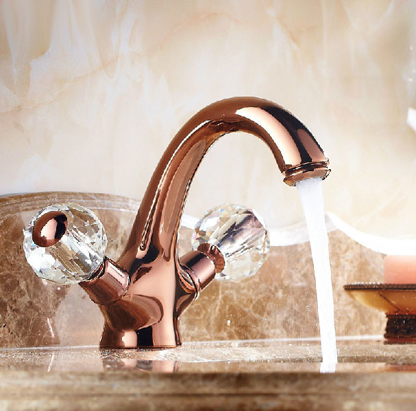 Euro Style Suex Rose Gold Plated Sink Faucet Dual Crystal
