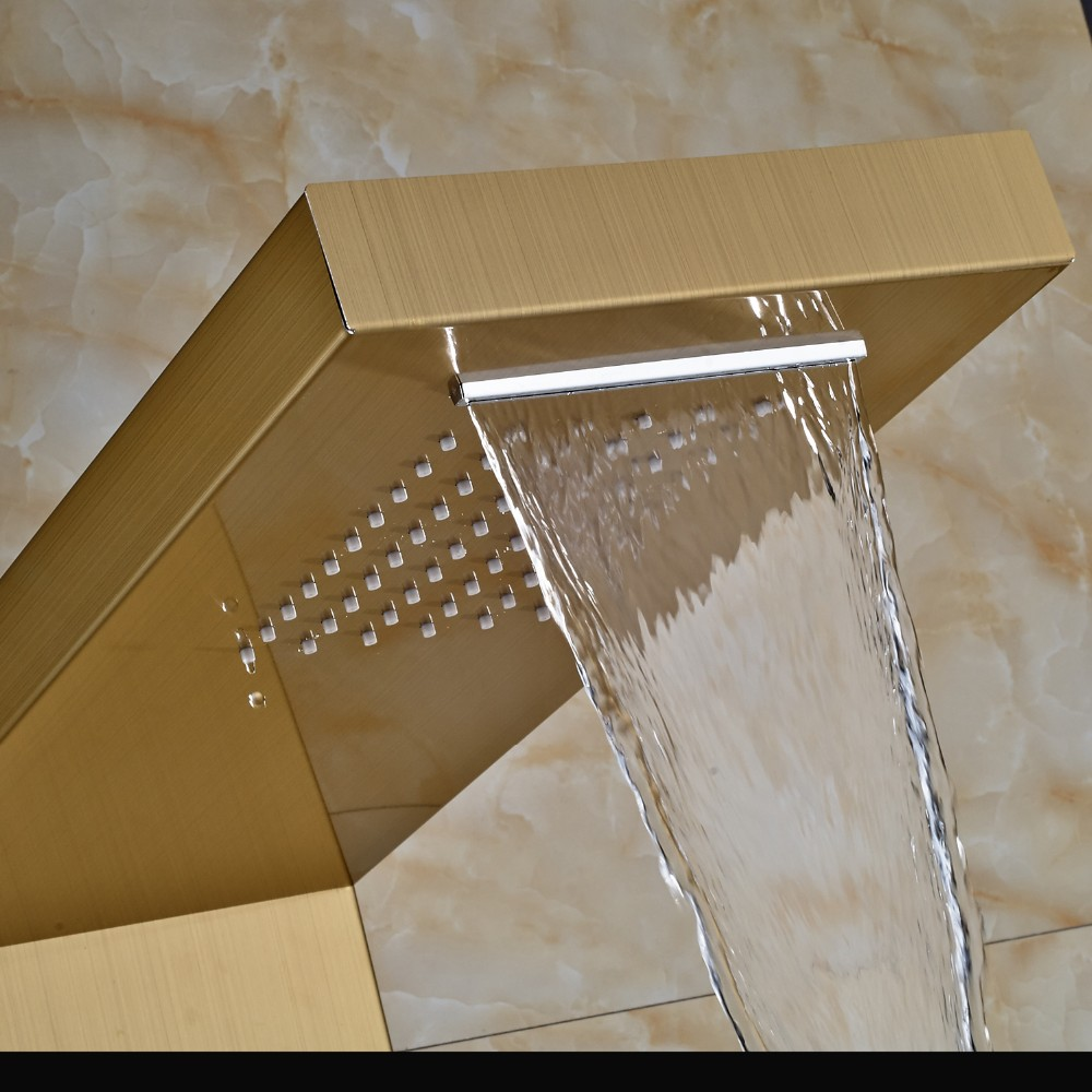 Gold Rain Shower Head.  Digital Display gold shower set 2water finished Lenox Shower Panel Column With RainFall and