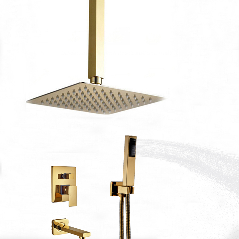 L 39 Aquila Brass Gold Tone Shower Set Ceiling Mounted 3 Ways Valve Mixer