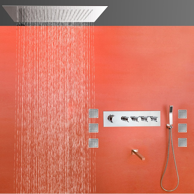 Fontana Thermostatic Copper Wall Mounted Shower Set With Body ...