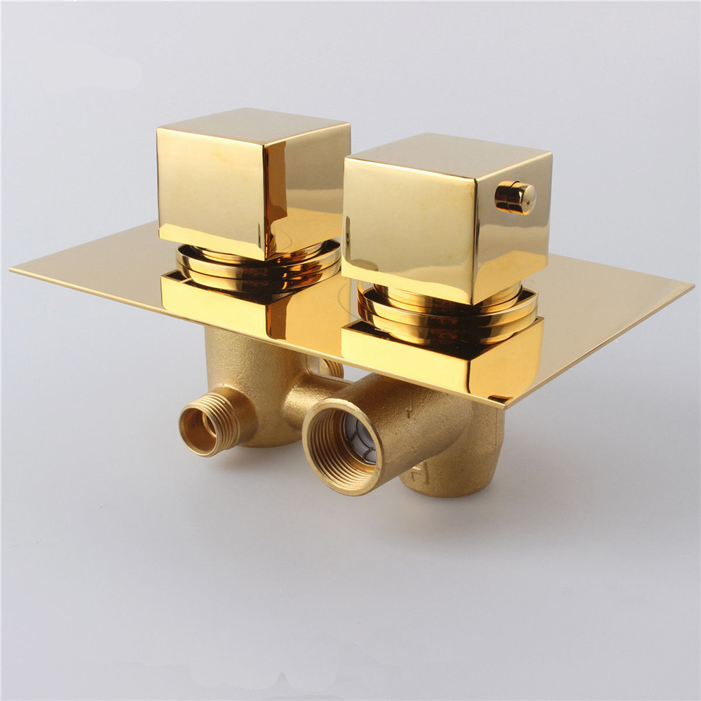 Copper Dual Handle Thermostatic Faucet Bath Brass: Fontana Gold Solid Brass Concealed Thermostatic Shower