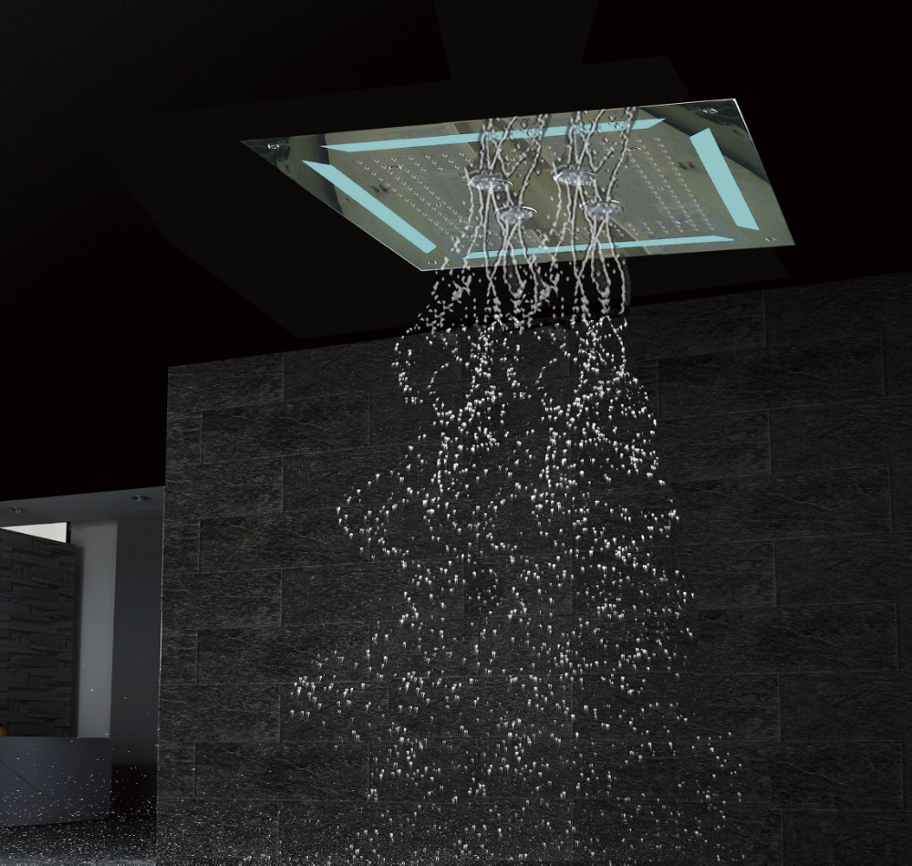 Luxury Led Embedded Ceiling Shower Head 4 Functions