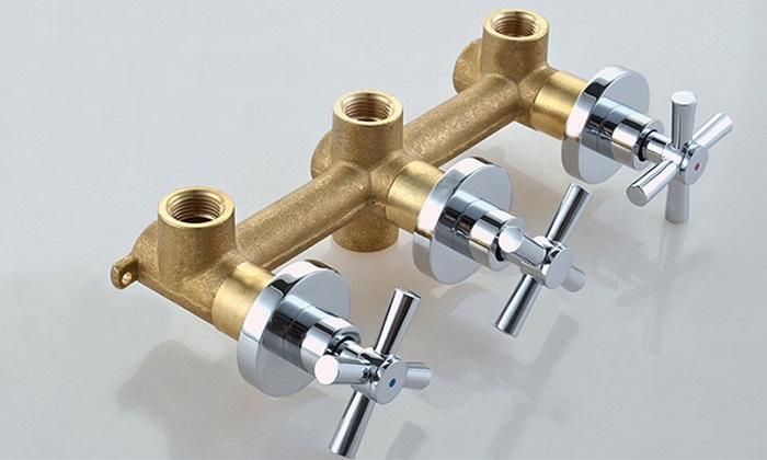 3 Handles 2 Way Bathroom Shower Valve In Wall Mixer Valve