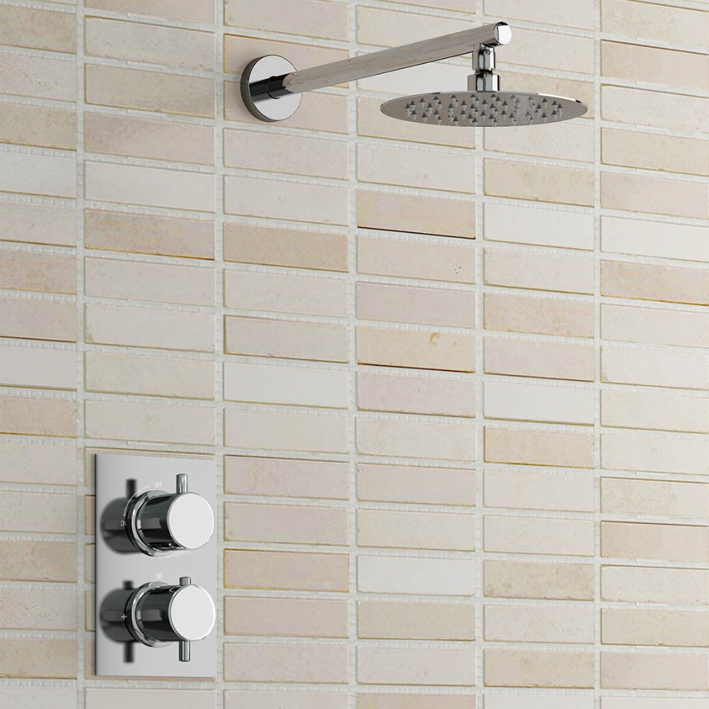 Round Wall Mounted Thermostatic Mixer Shower