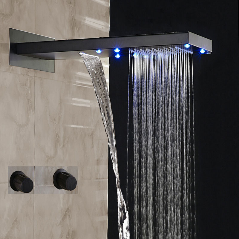 napoli oil rubbed bronze finish led waterfall rain shower set. Black Bedroom Furniture Sets. Home Design Ideas