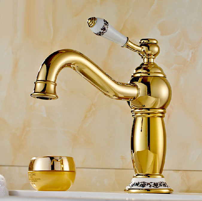 Gold Faucets For Bathroom: Rio Gold Plated Sink Faucet With Ceramic Accents Single
