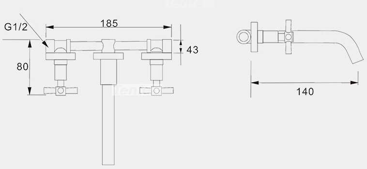 Campania-wall-mounted-faucet-dimensions