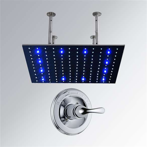 40 Stainless Steel square color changing LED rain shower head