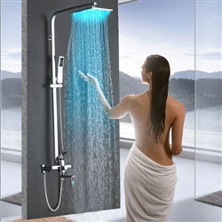 rain shower head attachment.  LED Rainfall Shower Head with Handheld and Faucet