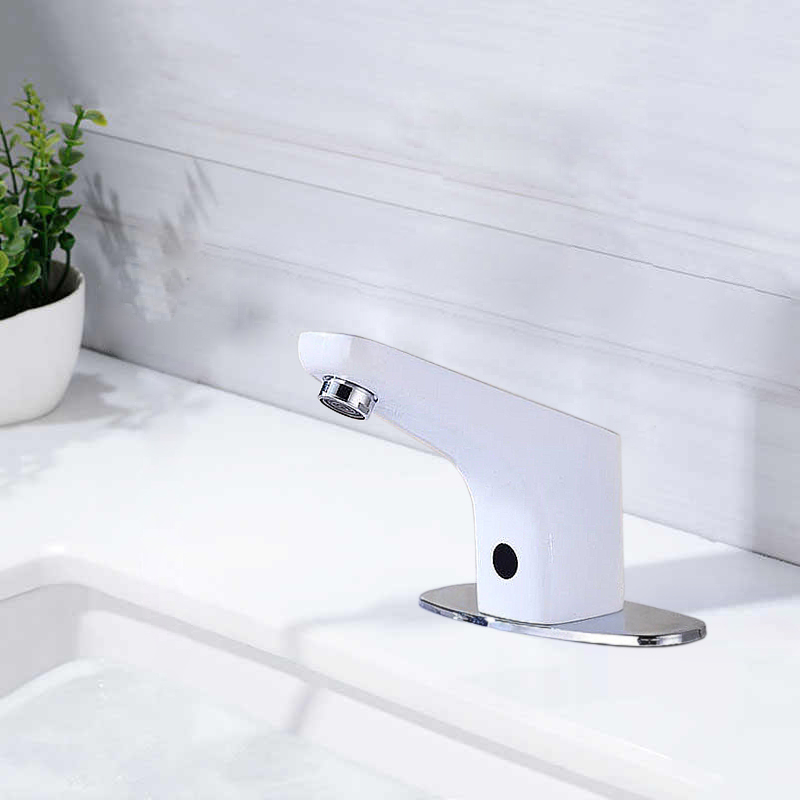 Fontana Sierra Commercial High Quality Touchless Automatic Sensor White Sink Faucet