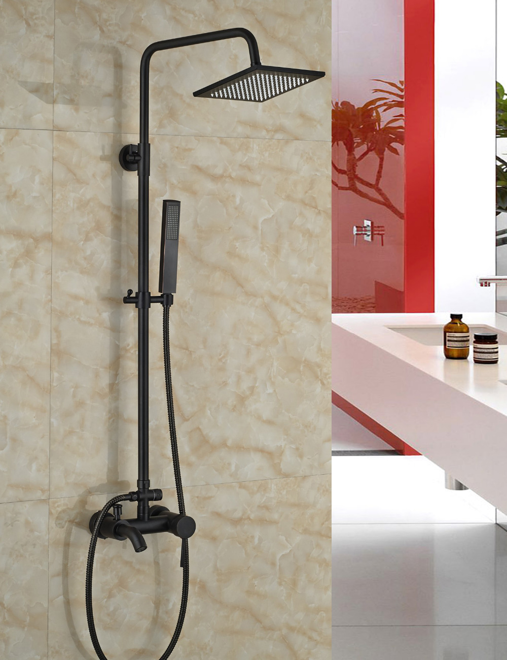 Renalto Single Handle LED Square Shower Head Wall Mount Shower Set ...
