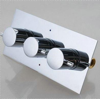 Fontana 3 Dials 3 Ways FS1761MT Thermostatic Mixer Chrome Finish Brass Shower Valve Panel with Diverter