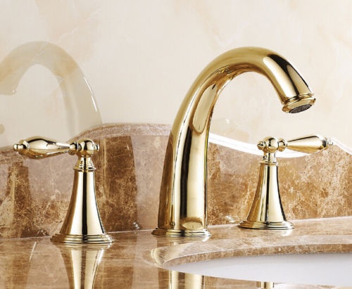 7 Faucet Finishes For Fabulous Bathrooms: Gold Finish Widespread 3 Holes Basin Mixer Tap Double
