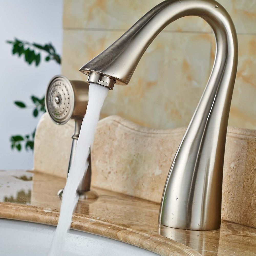 3pcs Single Handle Bathtub Faucet With Handshower Brushed