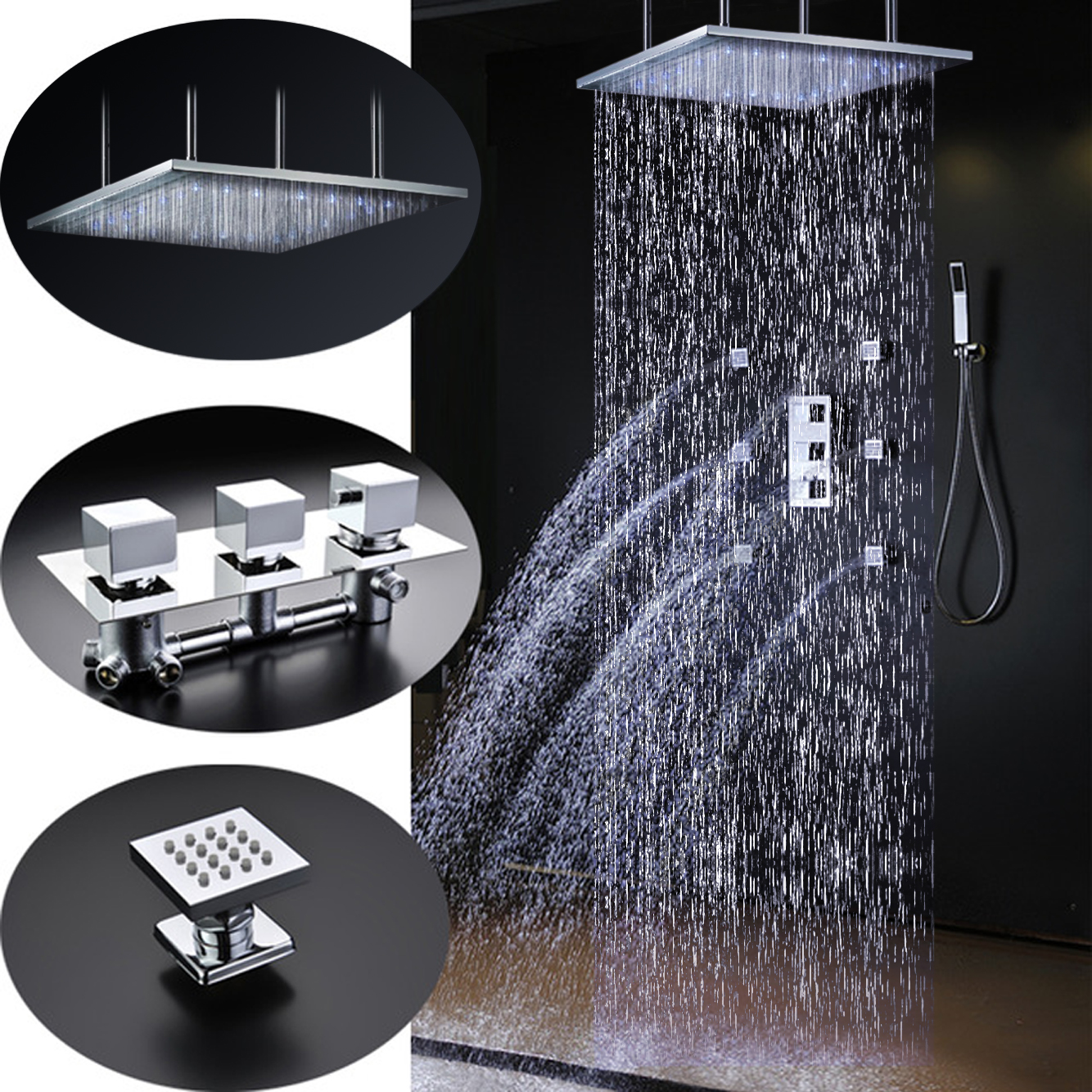 "Sicily 20"" * 40"" Large Chrome LED Rain Shower Head with Body Jets & Handheld Shower"