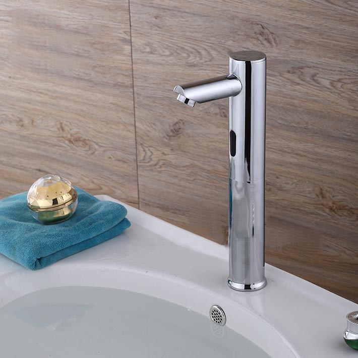 Fontana Tall Automatic Touch Free Lavatory Bathroom Sink Sensor Faucet Chrome Finish
