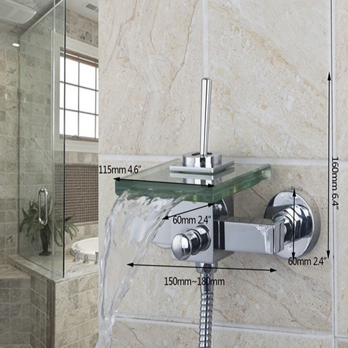 Agueda Wall Mounted Waterfall Glass Spout Shower Faucets With Handheld Shower Tap Mixer