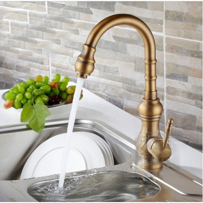Amasra Antique Brass Kitchen Sink Faucet With Hot And Cold Mixer