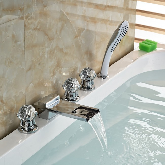 Crystal Handle Chrome Finish Waterfall Bathtub Faucet