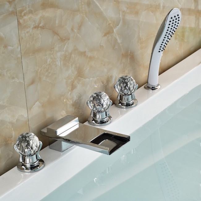 ATHENIAN CRYSTAL HANDLE CHROME FINISH WATERFALL BATHTUB FAUCET