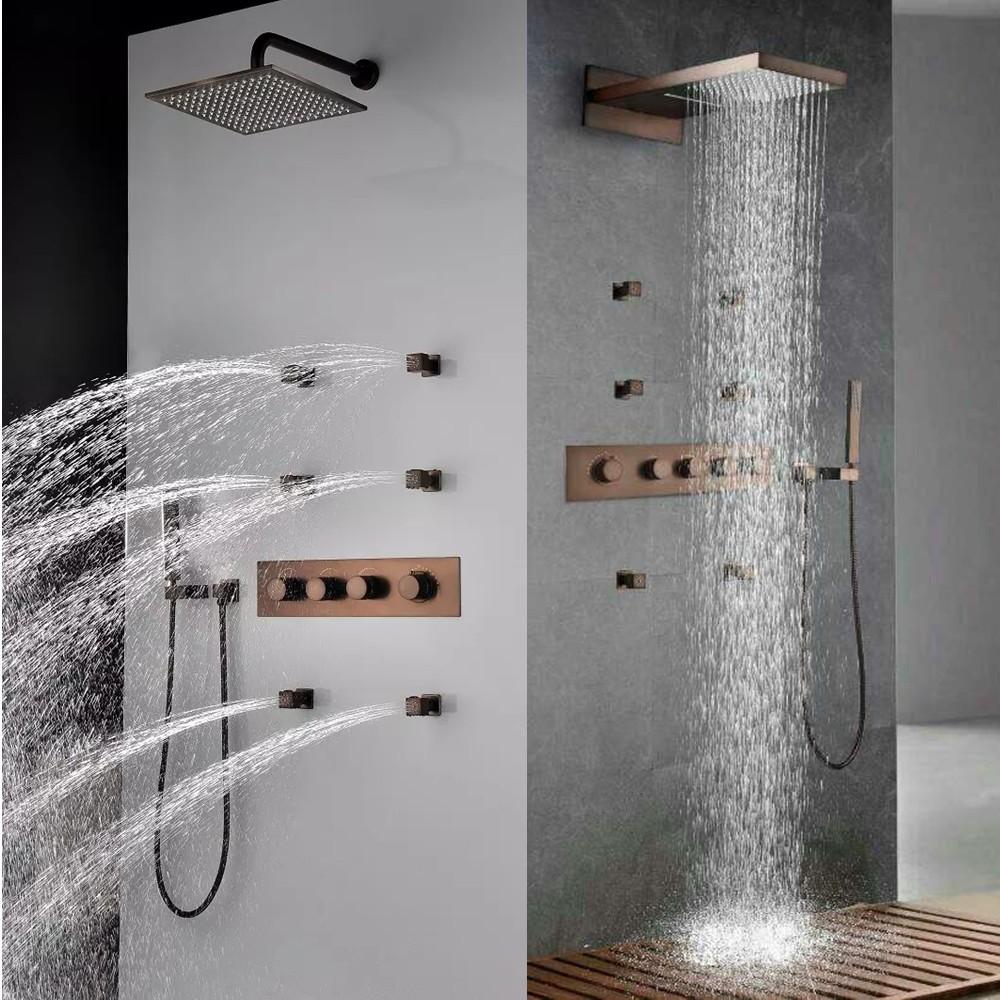 Fontana Lyon Luxurious Rainfall Bronze Finish Bathroom Shower Set