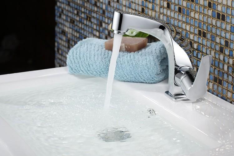 Besancon Deck Mount Chrome Single Handle Bathroom Faucet