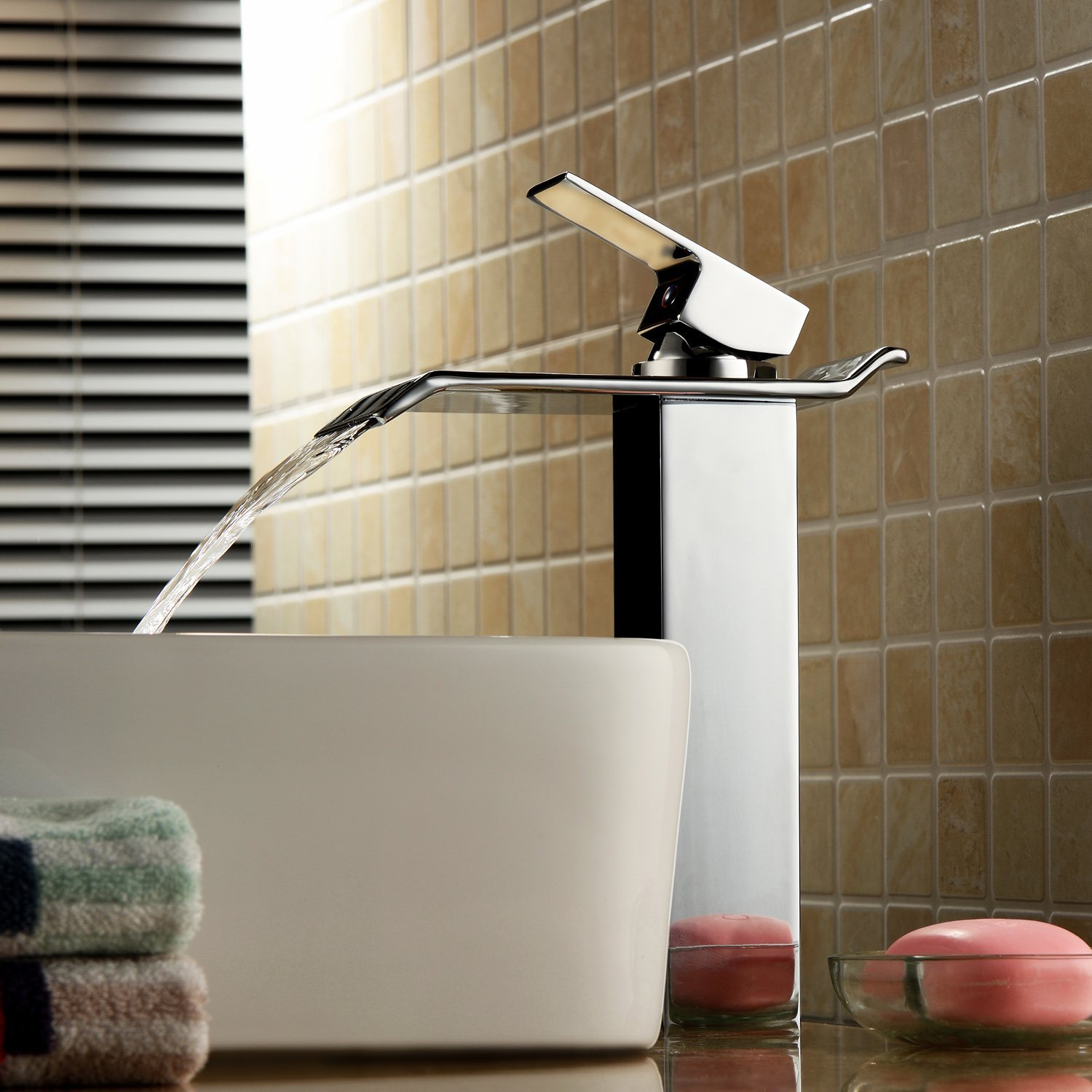Bianca Single Handle Deck Mounted Water Fall Bathroom Sink Faucet