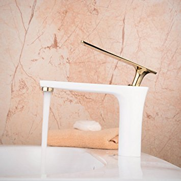Bitonto Gold Polished Single Handle Long Reach Spout White