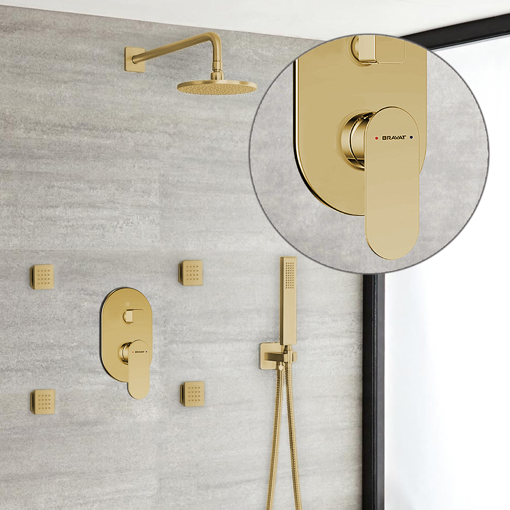 Bravat Brushed Gold Shower Set With Valve Mixer 3-Way Concealed Wall Mounted