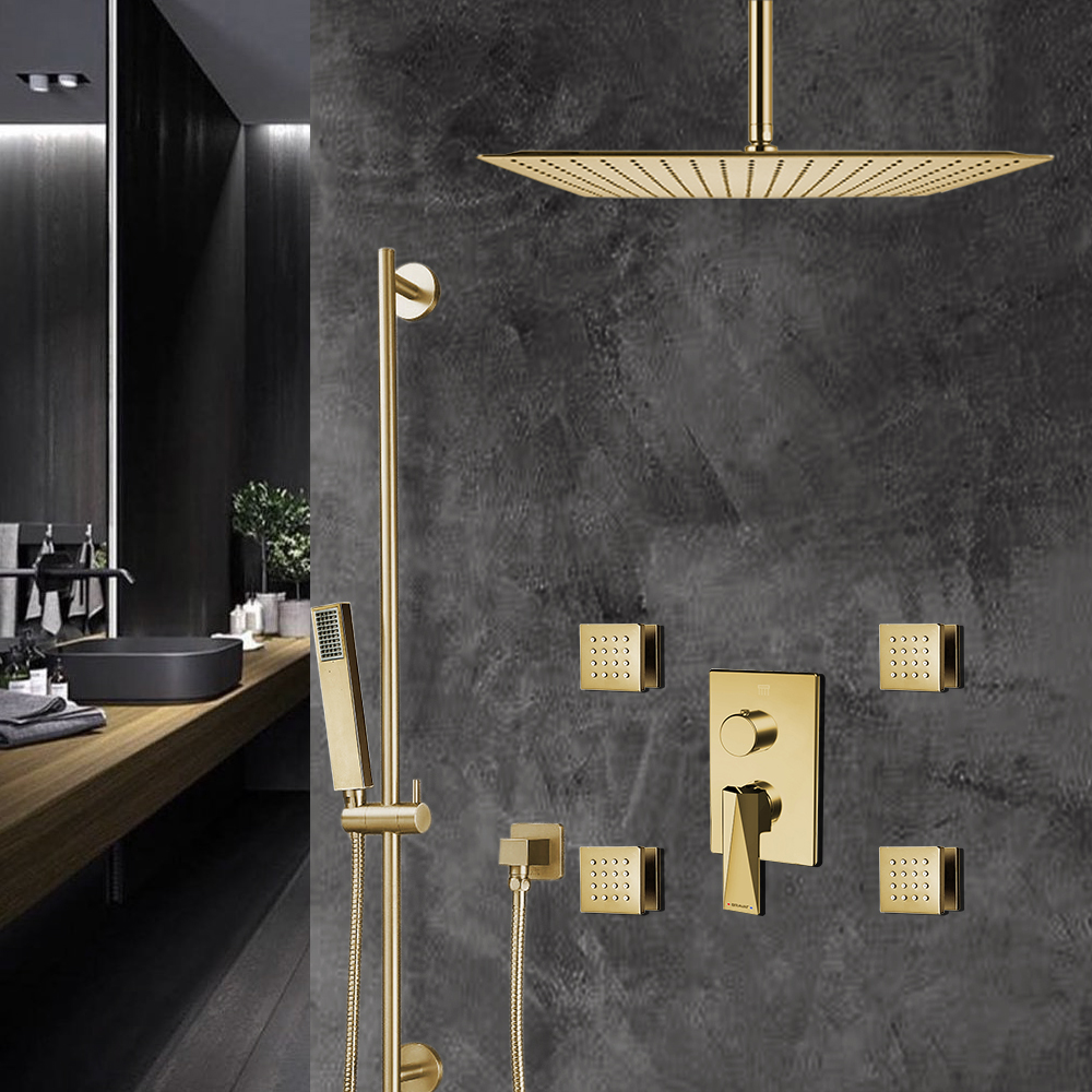 Bravat Brushed Gold Square Shower Set With Valve Mixer 3-Way Concealed Ceiling Mounted