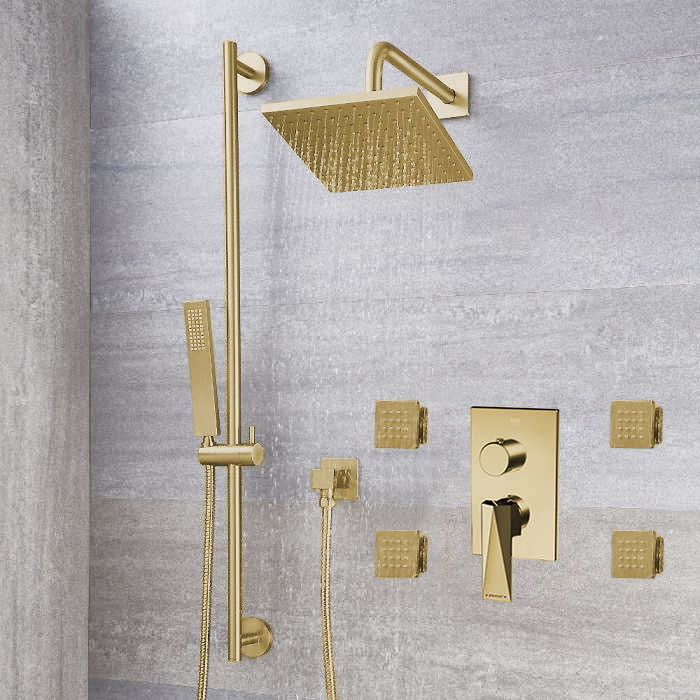 Bravat Brushed Gold Square Shower Set With Valve Mixer 3-Way Concealed Wall Mounted