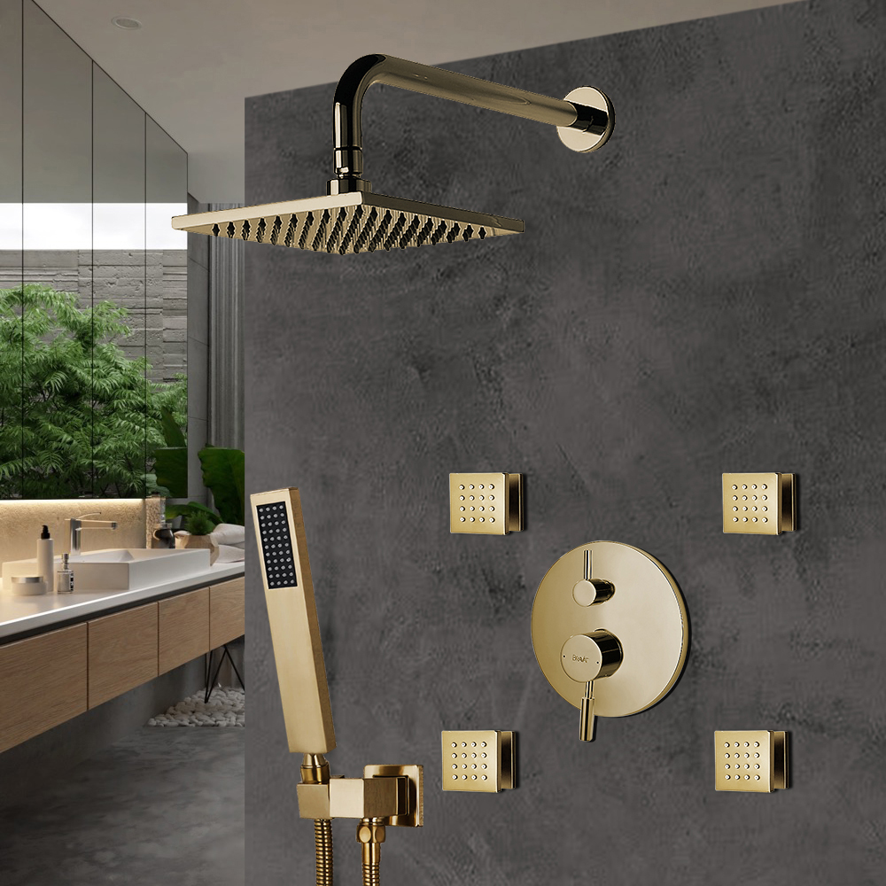 Bravat Brushed Gold Wall Mounted Square Shower Set With Valve Mixer 3-Way Concealed