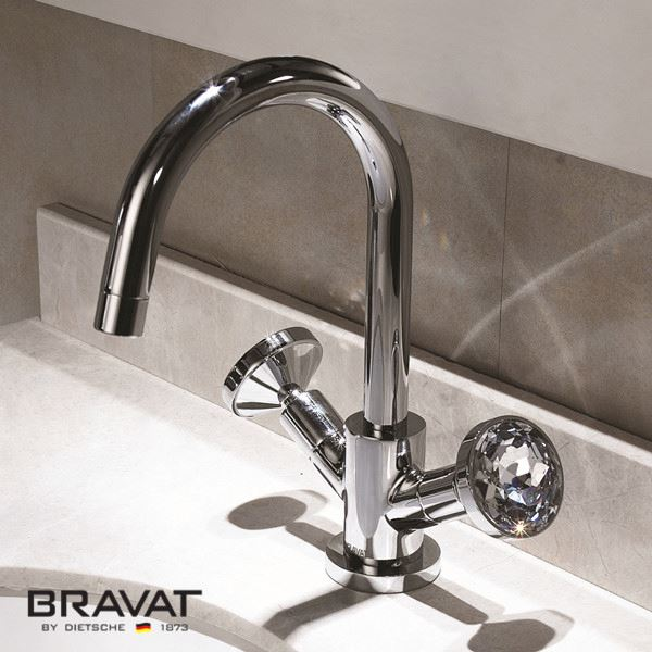 Bravat Deck Mounted Dual Handle Bathroom Sink Faucet