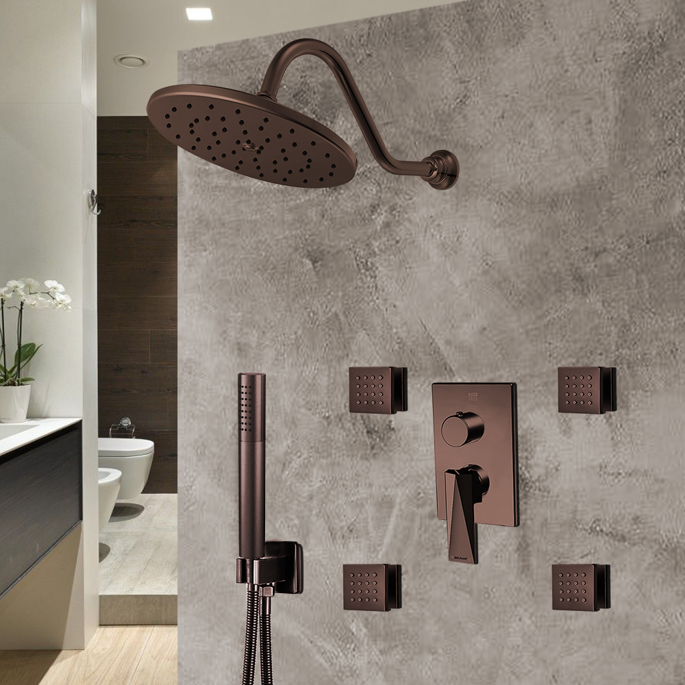 Bravat Light Oil Rubbed Bronze Shower Set With Valve Mixer 3-Way Concealed Wall Mounted