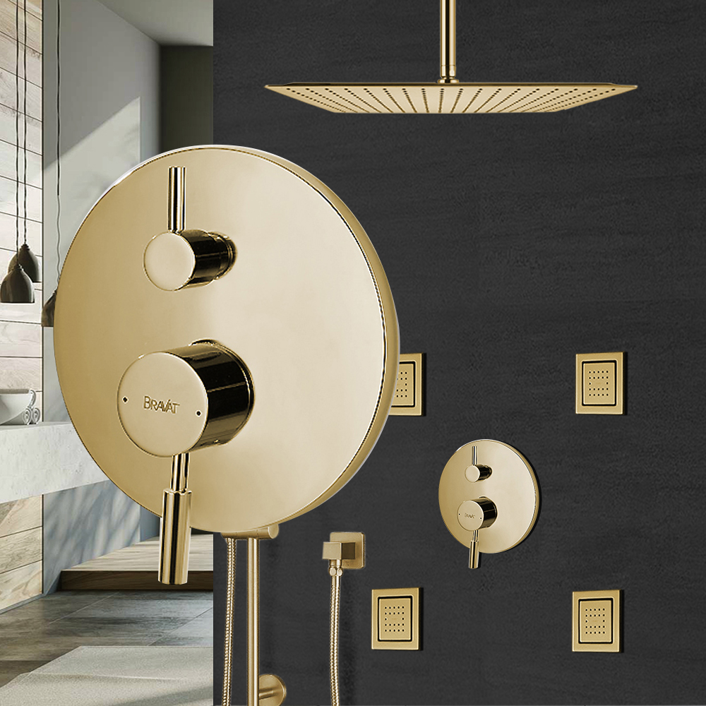 Bravat Square Brushed Gold Shower Valve Mixer 3-Way Concealed Ceiling Mounted Features: